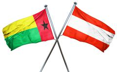 Guinea bissau flag with Austrian flag, 3D rendering Stock Illustration