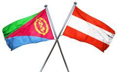 Eritrea flag with Austrian flag, 3D rendering - stock illustration