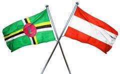 Dominica flag with Austrian flag, 3D rendering Stock Illustration