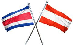 Costa Rica flag with Austrian flag, 3D rendering Stock Illustration
