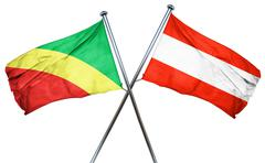 Congo flag with Austrian flag, 3D rendering - stock illustration