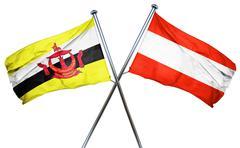 Brunei flag with Austrian flag, 3D rendering Stock Illustration
