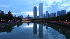 4k timelapse of Anshun Bridge above Jinjiang river, and downtown of Jiuyanqiao, Stock Footage
