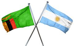 Zambia flag with Argentina flag, 3D rendering Stock Illustration