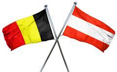 Belgium flag with Austrian flag, 3D rendering Stock Illustration