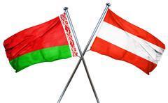 Belarus flag with Austrian flag, 3D rendering - stock illustration