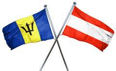 Barbados flag with Austrian flag, 3D rendering - stock illustration