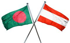 Bangladesh flag with Austrian flag, 3D rendering - stock illustration
