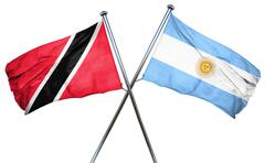 Trinidad and tobago flag with Argentina flag, 3D rendering - stock illustration