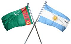 Turkmenistan flag with Argentina flag, 3D rendering - stock illustration