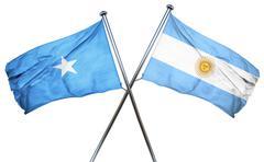Somalia flag with Argentina flag, 3D rendering Stock Illustration