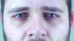 Man ready to cry, almost - stock footage