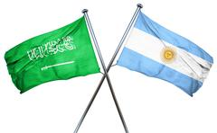 Saudi Arabia flag with Argentina flag, 3D rendering Stock Illustration
