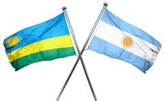 Rwanda flag with Argentina flag, 3D rendering Stock Illustration