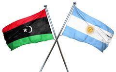 Libya flag with Argentina flag, 3D rendering - stock illustration