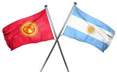 Kyrgyzstan flag with Argentina flag, 3D rendering Piirros