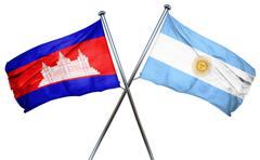 Cambodia flag with Argentina flag, 3D rendering Stock Illustration