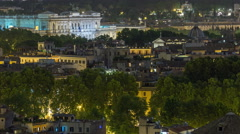 Panoramic view of historic center night timelapse of Rome, Italy Stock Footage