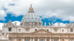Top of Basilica di San Pietro timelapse in the Vatican City, Rome, Italy Stock Footage