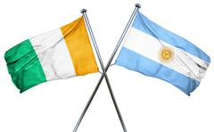 Ivory coast flag with Argentina flag, 3D rendering - stock illustration