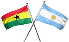 Ghana flag with Argentina flag, 3D rendering Piirros