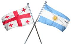 Georgia flag with Argentina flag, 3D rendering Piirros