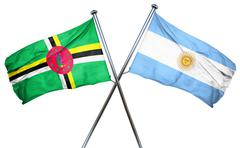 Dominica flag with Argentina flag, 3D rendering Piirros