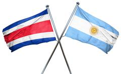 Costa Rica flag with Argentina flag, 3D rendering Piirros