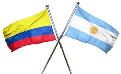 Colombia flag with Argentina flag, 3D rendering Stock Illustration