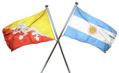 Bhutan flag with Argentina flag, 3D rendering - stock illustration
