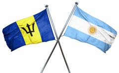 Barbados flag with Argentina flag, 3D rendering Stock Illustration