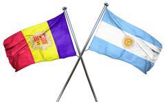 Andorra flag with Argentina flag, 3D rendering - stock illustration