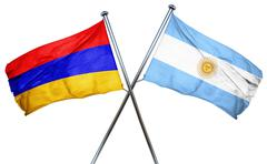 Armenia flag with Argentina flag, 3D rendering - stock illustration