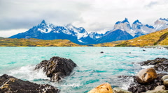 View of Cuernos del Paine and Lake Pehoe in the evening Stock Footage