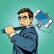 Selfie man blogger smartphone - stock illustration