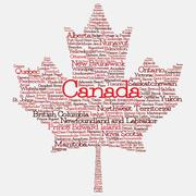 Maple leaf mad of cities and states of Canada in vector format. Can you find Stock Illustration