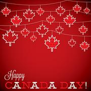 String of leaves Canada Day card in vector format. Stock Illustration