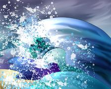 Big Water Waves - stock illustration