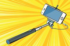 Selfie stick smartphone shooting Stock Illustration