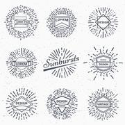 Vector vintage sunburst - stock illustration