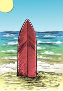 Sand beach and surfboard - stock illustration