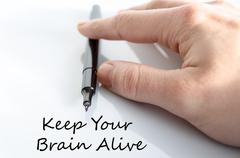 Keep your brain alive text concept - stock photo