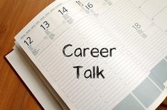 Career talk write on notebook Stock Photos