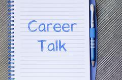 Career talk write on notebook - stock photo