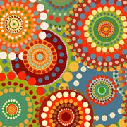 Textile color retro background ornament circles - stock illustration