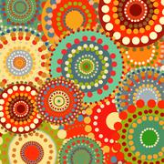 Textile color retro background ornament circles Stock Illustration