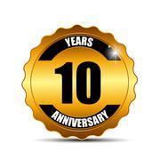 Anniversary Gild Label Sign Template Vector Illustration - stock illustration