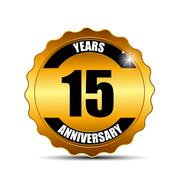 Anniversary Gild Label Sign Template Vector Illustration - stock illustration