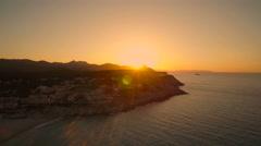 Majorca Cala Mesquida Beach Sunset - AerialView Stock Footage