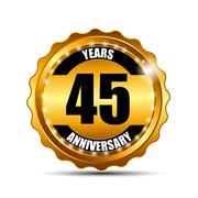 Anniversary Gild Label Sign Template Vector Illustration Stock Illustration